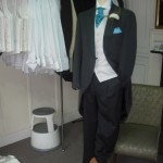 Mens Wedding Suit with blue tie
